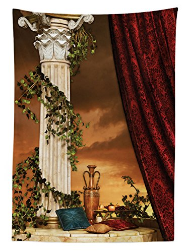 Ambesonne Gothic Tablecloth, Greek Style Scene Climber Pillow Fruits Vine and Red Curtain Ancient Figure Sunset, Dining Room Kitchen Rectangular Table Cover, 60 W X 84 L inches, Multicolor