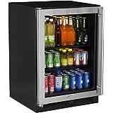 Marvel 24 Beverage Center, stainless steel frame glass door, left hinge