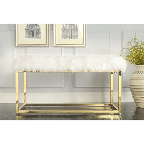 Inspired Home White Faux Fur Bench - Design: Monet | Goldtone Frame | Modern | Entryway & Bedroom ()