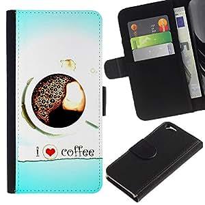 KingStore / Leather Etui en cuir / Apple Iphone 6 / Dise?o Café del amor I