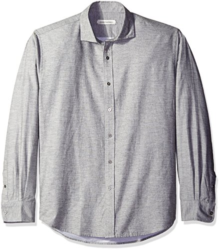 Campbell Flannel - James Campbell Men's Laredo Long Sleeve Flannel Shirt, Grey, X-Large