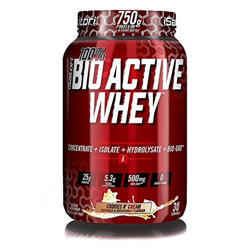 iSatori 100% BIO-ACTIVE WHEY Elite Whey Protein Formula with Added BIO-GRO FOR Strength, Muscle and Recovery - Cookies N' Cream/30 Servings Active Protein