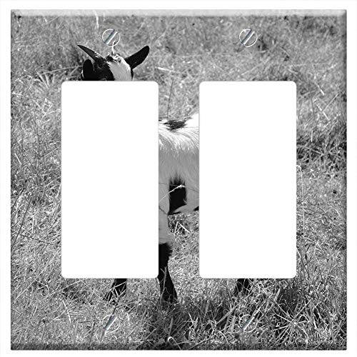 Switch Plate Double Rocker/GFCI - Goat Photo Black White Nature Herbivore Tenderness
