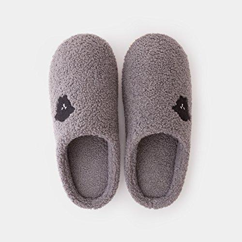 DogHaccd Zapatillas,Home cartoon antideslizante zapatillas de algodón interior femenina parejas estancia peluche lindo zapatos zapatos gruesos,El rojoLuz Rosa Gris oscuro3