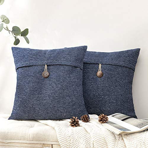 Purple Phantoscope Pack of 2 Natural Shell Button Throw Pillow Covers