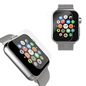 ZSTVIVA iWatch Tempered Glass Screen Protectors for iWatch Series 2 & 1 42MM 2 Packs Ultra Clear Bubble Free Screen