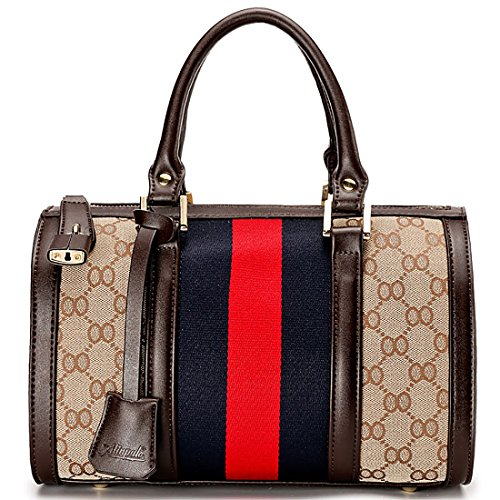Mini Handbags for Ladies Leather Stripe Lock Satchel Handbags Wedding Party Top Handle Bag (Army Green) by REAO