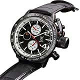 Konigswerk Men's Watch Black Leather-Synthetic Large Black Dial Multifunction Day Date Sun Moon AQ201765G