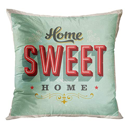 Semtomn Throw Pillow Cover Sign Vintage Home Sweet Retro House Saying 50S Fifties with Hidden Zipper Decorative Home for Sofa 16