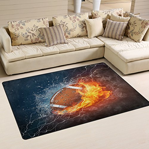 WOZO American Football in Fire and Water Area Rug Rugs Non-Slip Floor Mat Doormats for Living Room Bedroom 60 x 39 inches