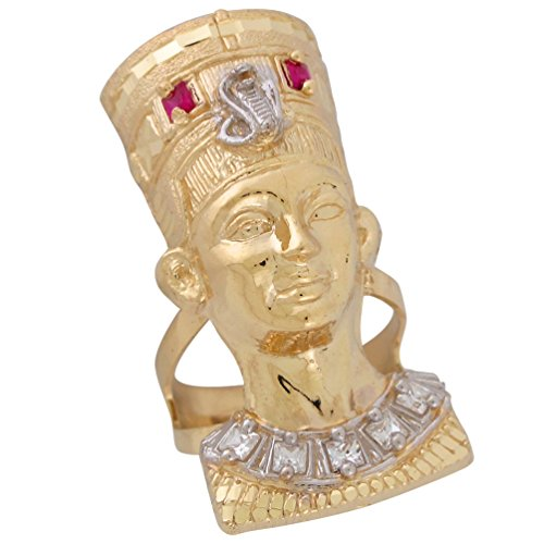 10k Two-Tone Gold Egyptian Queen Nefertiti Diamond Cut and CZ Accented Ring ()