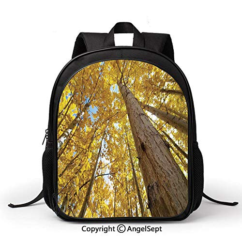 Lightweight Backpack for School,Forest Home Decor,Up View of Fall Aspen Tree Leaves in Fade Tone Autumn Season Photo Image,Yellow,Student schoolbag Daypack for Travel