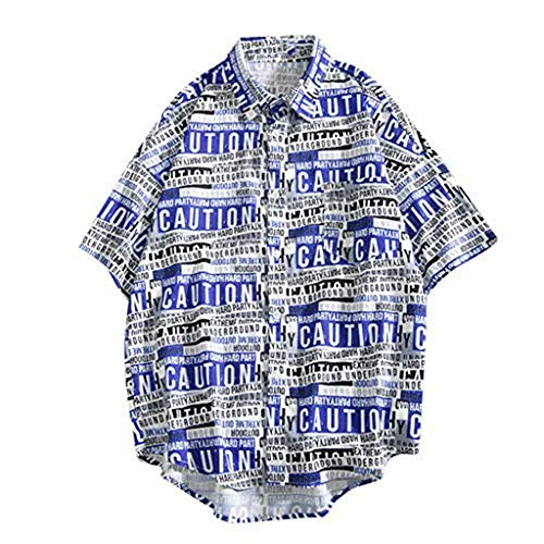 ✿HebeTop✿ Mens Hawaiian Shirts Aloha Summer Beach Short Sleeve Casual Button Down Shirt White -