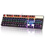 Sades K10 USB Wired Mechanical Gaming Keyboard Colorful LED Backlight Backlit With Blue Switches Balck Floathing Keycap