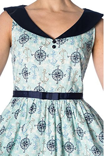 Navyblau Dress Sailor Swing Days Kleid Anker Hellblau Dancing Compass Damen I1xzwFq70