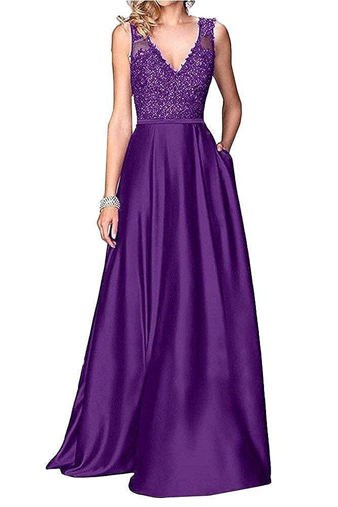 Purple Dreagel Women's VNeck Prom Dresses Beaded Appliques Evening Dress Long Formal Gowns