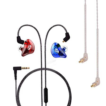 BASN Professional in-Ear Monitor Headphones for Singers Drummers Musicians with MMCX Connector Earphones Lux ClearRedBlue