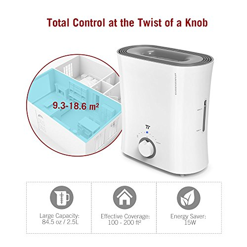 TaoTronics Evaporative Humidifier, Air Purifier, Germ-Free and Invisible Moisture with Wicking Filter, Top Fill Cool Mist Humidifiers for Bedroom, Office and Nursery -(2.5 L/0.66 gal, 110V) by TaoTronics (Image #4)