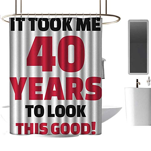 TimBeve Polyester Shower Curtain 40th Birthday,Forty Years and Looking Good Confident Cool Funny Catchphrase,Dark Coral Black White,Decorative Bathroom Curtain,Mildew Resistant 72