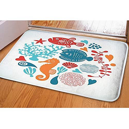 iBathRugs Door Mat Indoor Area Rugs Living Room Carpets Home Decor Rug Bedroom Floor Mats,Marine Life
