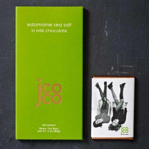 Jcoco Non GMO Chocolate Bars: Pack of 6, 3 ounce Gluten-free Chocolate Bars (Edamame Sea Salt) (Chocolate No Salt Milk)