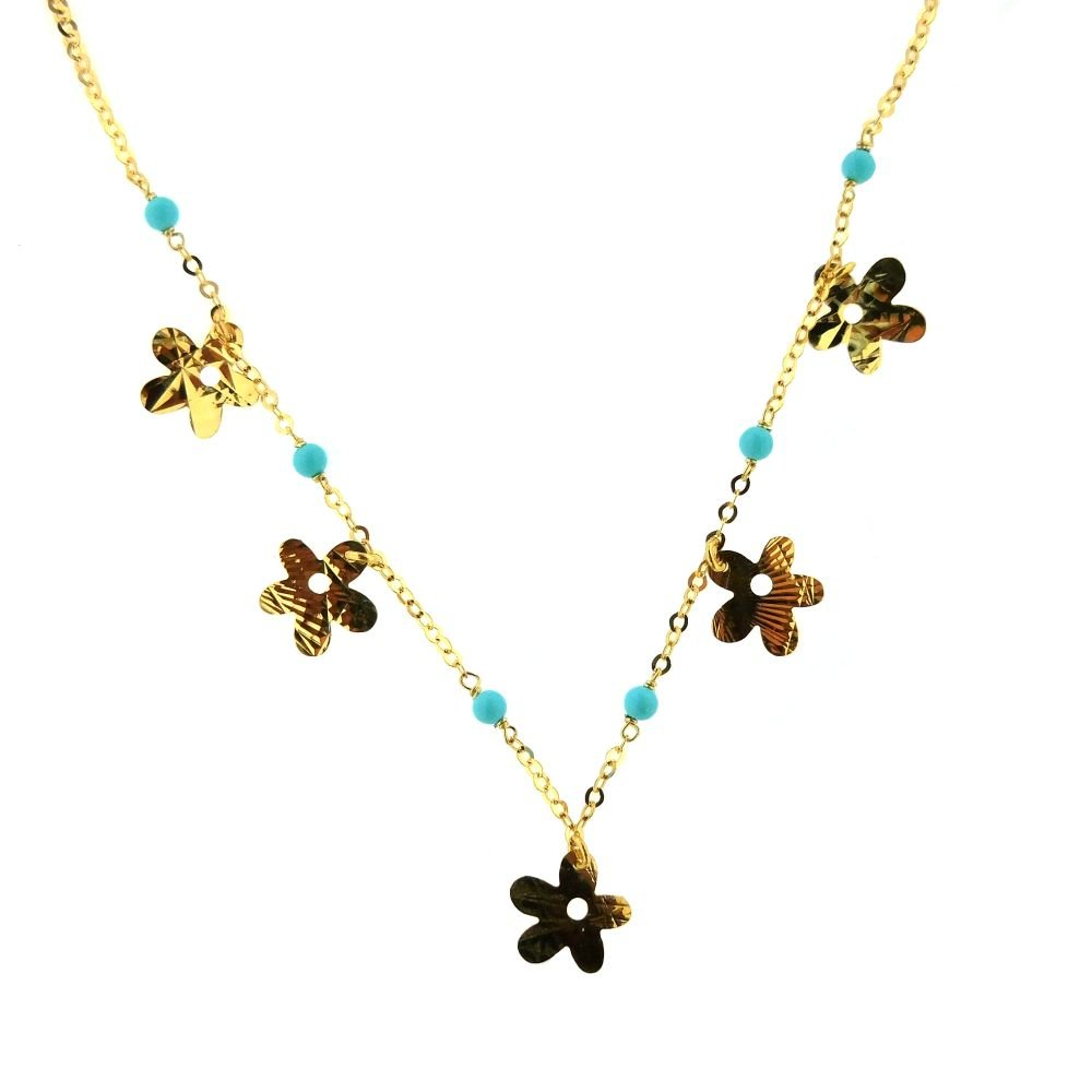 18K Yellow Gold Turquoise paste beads and gold diamond cut flowers 13.50 inches necklace