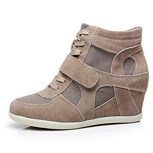 Confortable amp;tissu Femmes Classique Compensee Baskets Chaussures Mode Boucle Mignon Marron Rismart Suede wt6pAqw
