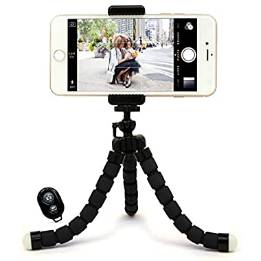 Bastex Universal Compact Flexible Octopus Style Black Tripod Stand Holder/Mount with Adapter for Smartphone / Digital Camera / GoPro Hero All Versions - Includes Remote