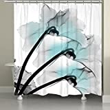Laural Home TLL74SC Contemporary X-Ray Flowers Shower Curtain, Floral, Blue
