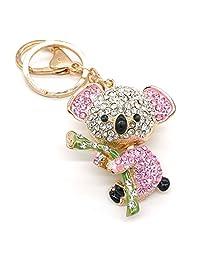 Cooplay Cute Lovely Pink Fashion Koala Bear Animal Diamond Crystal Rhinestone Gold Crystal Keychain Charm Pendent for Women Girl Handbag Purse Bag Keyrings Charm Gift