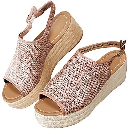 Athlefit Women's Espadrille Wedge Sandals Braided Jute Ankle Buckle Platform Sandals Size 7.5 - Platform Braided