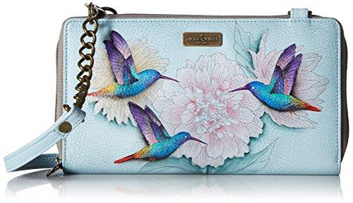 - Anuschka Women's Hand Painted Leather Zip Around RFID Crossbody Clutch,Rainbow Birds