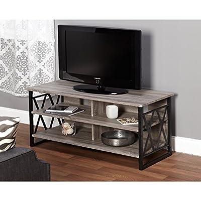 Metro Shop Seneca XX 48-inch Black/ Grey TV Stand - Powder Coated Steel Frame Black / Grey Reclaimed Look Four Storage Shelves - tv-stands, living-room-furniture, living-room - 51aqGf5%2BDoL. SS400  -