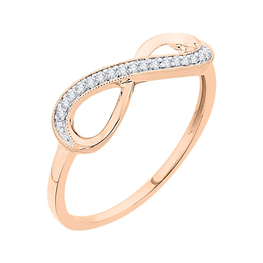 1//10 cttw, Size-6.5 3 Diamond Promise Ring in 10K Pink Gold G-H,I2-I3