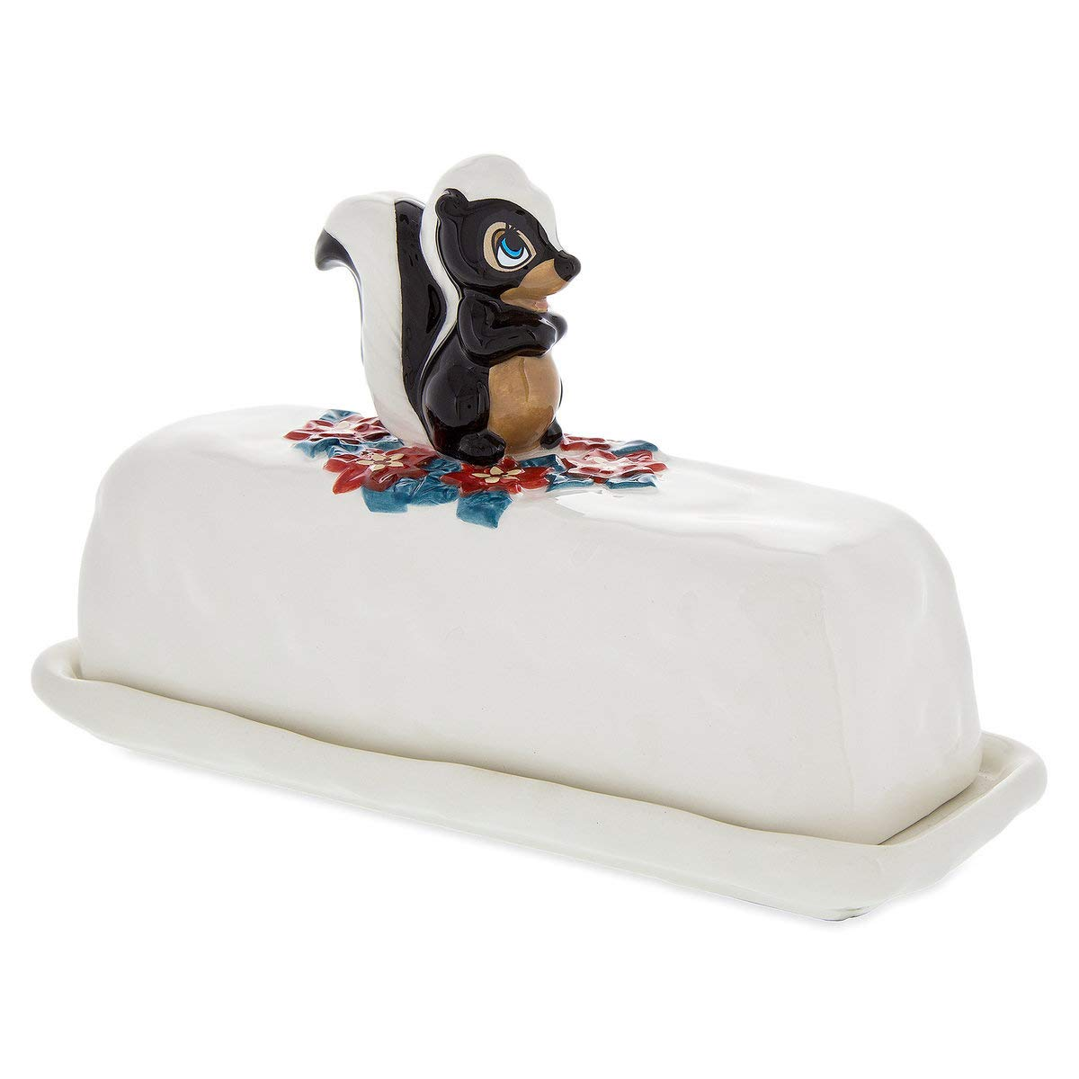Disney Ceramic Holiday Butter Dish - Bambi - Flower The Skunk