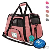 PetAmi Premium Airline Approved Soft-Sided Pet Travel Carrier | Ventilated - Comfortable Design with Safety Features | Ideal for Small to Medium Sized Cats - Dogs - and Pets (Small - Heather White Red)