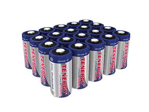 Tenergy Propel 3V CR123A Lithium Battery, High Performance CR123A Cell Batteries PTC Protected for Cameras, Flashlight Replacement CR123A Batteries, 20-Pack (Not For Arlo Camera)