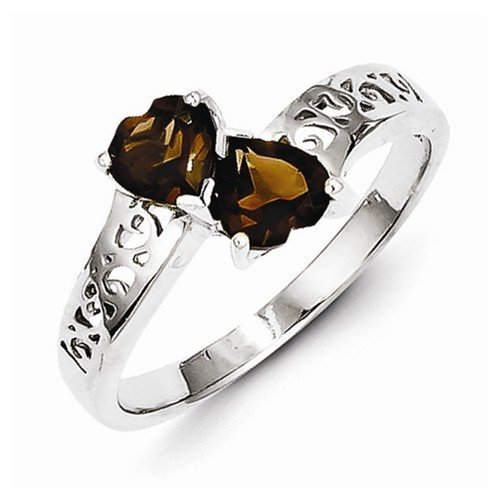 925 Sterling Silver Brown Simulated Smokey Quartz Love Heart Engagement Ring (2mm)