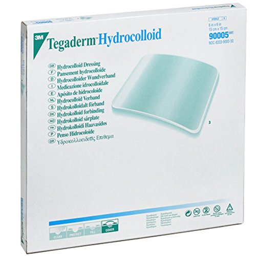 3M™ Tegaderm™ Hydrocolloid Dressing, Squares, 6 Inch x 6 Inch Pack of 3