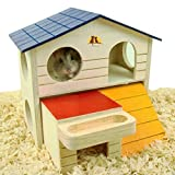 Emours Pet Small Animal Hideout Hamster House Deluxe Two Layers Wooden Hut Play Toys Chews with Natural Wood Chips