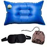 Camping Self-Inflating Pillow and Eye Sleeping Mask - Exclusive Set - Compressible Inflatable Air Pillow Perfect for Traveling, Outdoor Trips and Camping by ActBrave