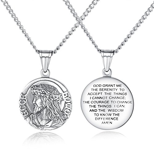 TENGYI 18K Gold Plated Stainless Steel St Saint Benedict Medal Pendant with 24 Inch Chain Necklace (B1:Jesus Christ Medal Silver)