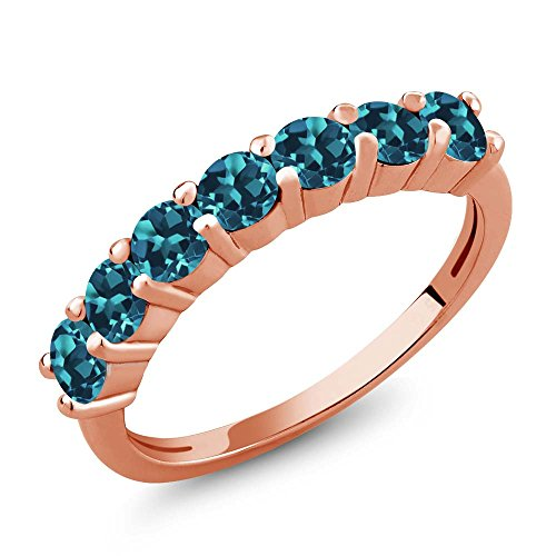 Gem Stone King 1.40 Ct Round London Blue Topaz 18K Rose Gold Plated Silver Anniversary Ring (Size 5) (Topaz 18k Ring)