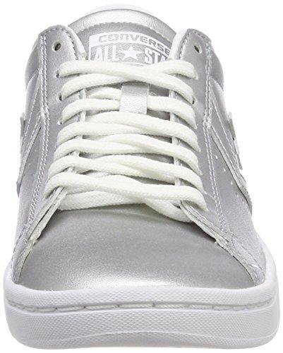 Silver Plateado Zapatillas Pro Metallic Leather Converse qqIZwz