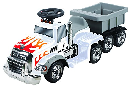 6V Deluxe Ride On Mack Truck with Trailer in White, Battery Powered