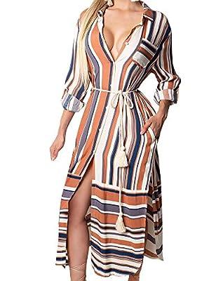 FANCYINN Womens V-Neck Button Down Shirt Dress Striped Long Sleeve Side Split Cover up