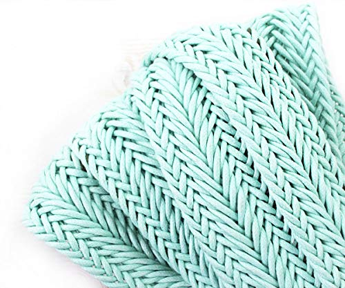 1yrd 0.9m Turquoise Blue Cotton Linen Knitted Ribbon Fabric Flat Cord Macrame Boho Bracelet Necklace Sewing Decorative Jewelry Making 35mm