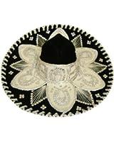 Black Silver Fancy Mexican Charro Mariachi Hat Sombrero - Teen Size
