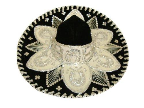 Sombrero Charro (Black Silver Fancy Mexican Charro Mariachi Hat Sombrero - Teen Size)