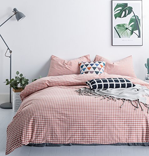 SUSYBAO 3 Pieces Duvet Cover Set 100% Natural Washed Cotton Queen Size 1 Duvet Cover 2 Pillowcases Luxurious Quality Soft Comfortable Breathable Coral Gingham Plaid Checkered Pattern with Zipper Ties (Satin Comforter Vintage Down)
